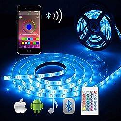 Ruban LED Bande Lumieuse Bluetooth,ALED LIGHT Bande LED Étanche 5050 RGB 5M 150LEDs,Contrôlé par APP du Smartphone Android et IOS,avec Récepteur Bluetooth,Alimentation 12V2A,Télécommande IR 24Touches