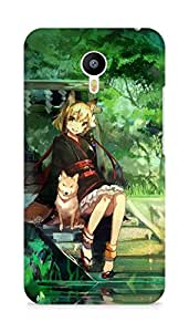 Amez designer printed 3d premium high quality back case cover for Meizu M2 Note (Girl And Dog Green Nature Anime Art I)