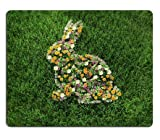 Roger Mouse Pad Naturkautschuk Mousepad der Florale Osterhase auf der