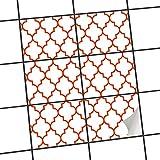 creatisto Fliesen | Design-Dekorsticker Küchenfolie Bad-Fliesen Badgestaltung | 20x15 cm Muster Ornament Retro Pattern - Rot - 6 Stück