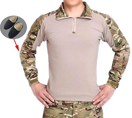 Männer BDU Schießerei Kampf Lange Ärmel Camo Hemd mit Ellenbogenschutz Multicam MC für Taktisch Militär Armee Airsoft Paintball (S) (L)