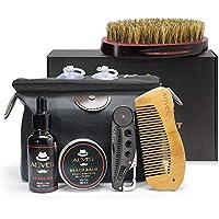 Kit de preparación de barba, 6 piezas con aceite orgánico para barba, babero,