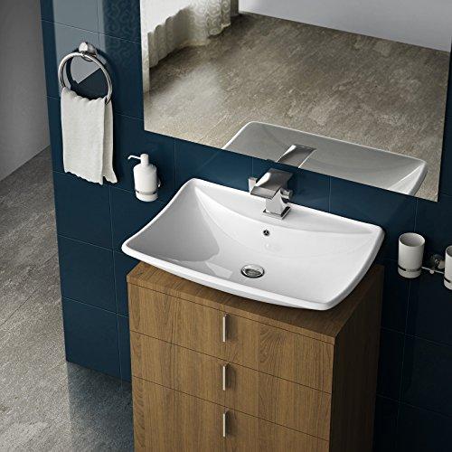 Preisvergleich Produktbild Aquamarin Modernes Waschbecken mit Ablage im außergewöhnlichen Design aus Sanitärkeramik in Weiß mit pflegeleichter Oberfläche