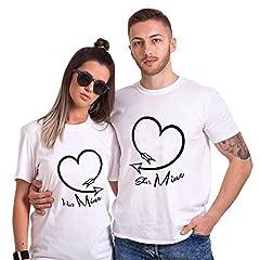 Idea Regalo - San Valentino Shirt King Queen 100% Cotone T-Shirt Coppia Couple per Fidanzati Camicia Corta Cuore Stampa Uomo Donna Moda Dolce (Bianco+Bianco,M+S)