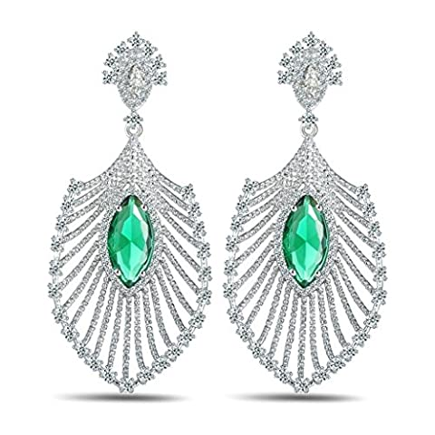 Epinki Women White Gold Plated Peacock Feather Full Crystal Inlaid