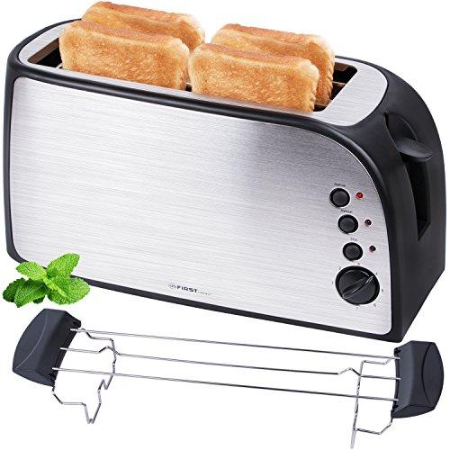 TZS First Austria - gebürsteter Edelstahl 4 Scheiben Toaster 1500W