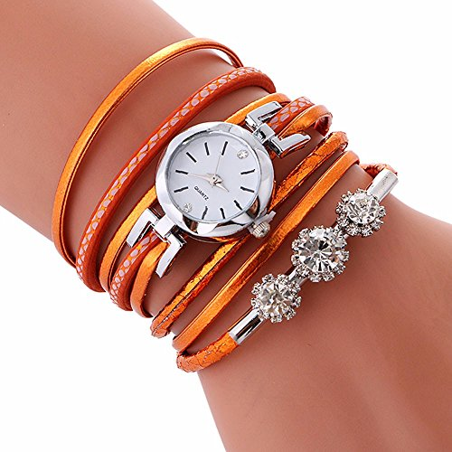 Artistic9 Uhren Damen Armbanduhr Quarzuhr | Vintage Diamant Böhmen Weben Armband Quarzuhren Frauen Chain Watch | PU Leder Uhr Seil Ketten wickelnde Strick Uhrenarmband | 40cm- (Orange)
