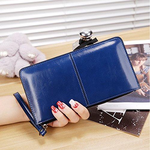 Portafoglio Donna Pelle Phone Case Custodia Multifunzionale Smartphone Wristlet Custodia Donna per iPhone 7/7PLUS/6S nero (Rosa Rosso) Blu Zaffiro