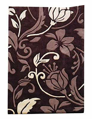 Flair Rugs Infinite Damask Handtufted Rug, Chocolate/Cream, 60 x 110 Cm - low-cost UK light store.