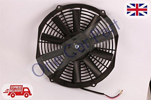 Universal Kit de refrigeración Turbo eléctrico coche hoja curva Radiador Ventilador 12V 80W