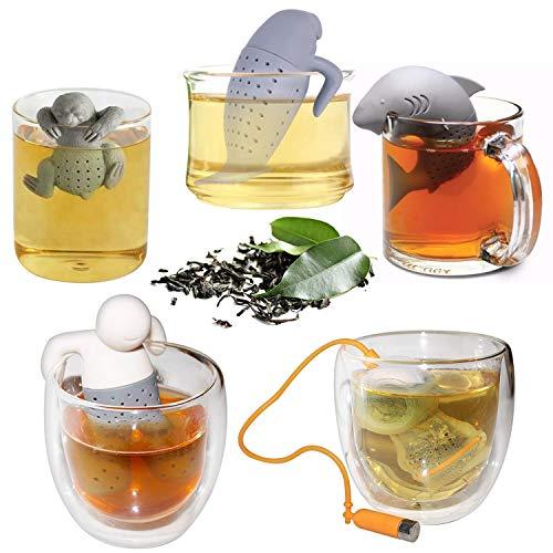 faultier teesieb Kurtzy 5 stck Silikon Teesieb - Wiederverwendbare Teefilter - Tee-ei für Losen Leaf Tea - Faultier Tee Ei - Teezubehör - Teekugel - Geeignet für Hitzebeständig, Mikrowelle & Spülmaschine
