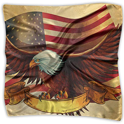 Pizeok American Flag Bald Eagle Women's Large Square Satin Headscarves Silk Like Neckerchief -