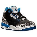 Nike Jungen Air Jordan 3 Retro BG Turnschuhe, (Schwarz/Sport Blau-Grauer Wolf), 38 EU