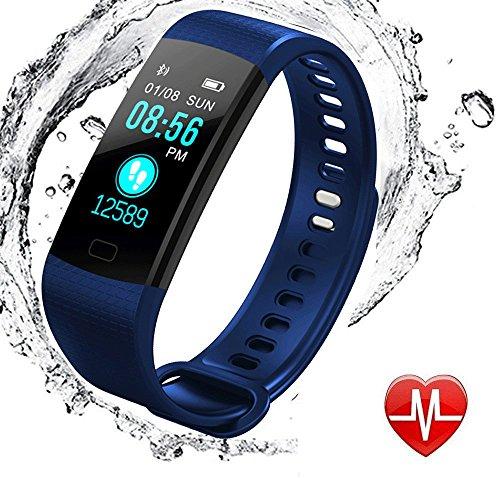 Fitness Armbanduhren mit Vibrationsalarm, elecfan Wasserdicht IP67 Fitness Armband Aktivitätstracker Color Screen Pulsuhren Bluetooth Smart Armbanduhren Smartwatches mit Schlafmonitor Kalorienzähler Vibrationsalarm Schrittzähler mit iPhone Android Handy - Dunkelblau