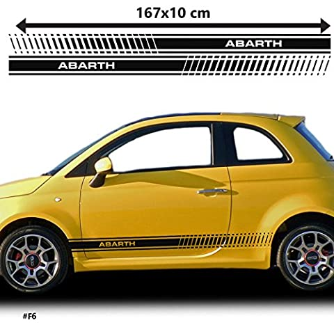 Fiat 500 Abarth Racing Side Stickers Graphics Decals Car Stickers (Black)