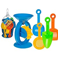 Out of the blue Sand Water Funnel Mill Wheel Shovel Sieve Coloured Playset Kids Toddlers Fun Toy