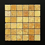 Gold/Yellow 2 X 2 Tumbled Travertine Mosaic Tile by Marble 'n things