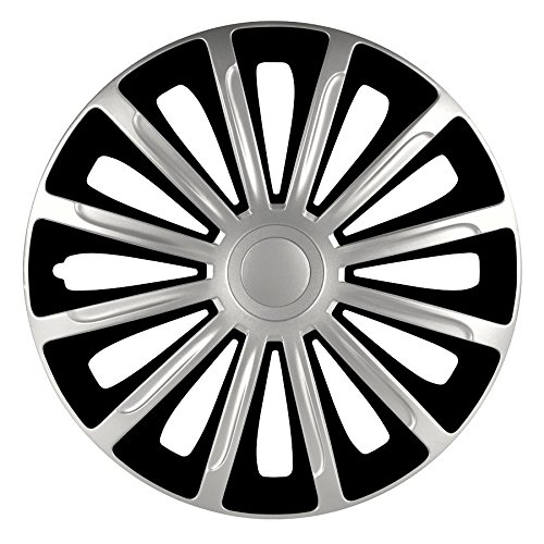 4 COPRICERCHI Auto Nero Argento Trend 14' 15' 16' Pollici Coppe Borchie Copri Ruota Ottima QUALITÁ + 1 Adesivo da pc Ricambi Auto Europa Gratis (14')