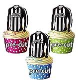 AK Giftshop Precut Happy Birthday Fußball-Shirts–essbare Cupcake Toppers/Kuchendekoration Dunfermline (12Stück), Schwarz