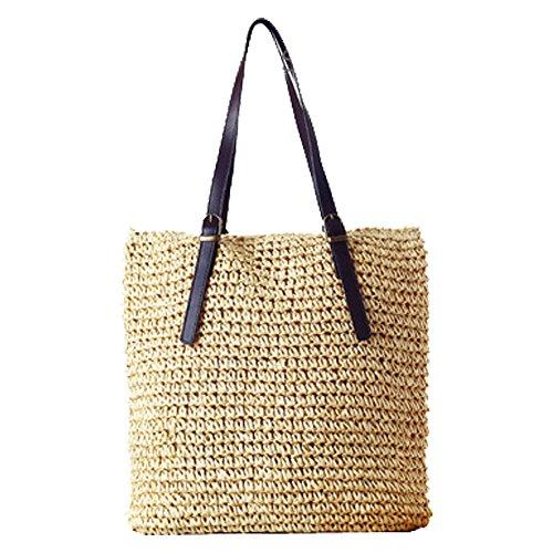 Artone Klassisch Stroh Weberei Tragetasche Handtasche Sommer Strandtasche Schultertaschen Umweltfreundlich Einkaufstasche Beige
