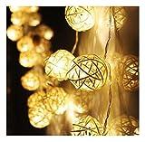 Hipzop 10 couleur LED Rattan boule de lumières de fées Pour Noël Fête Mariage (Jaune)