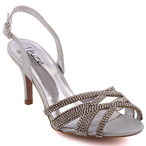 Unze Partito Mid High Heel delle donne 'Barna' Get-Insieme Soiree Carnevale Sandali Scarpe da Sposa UK Size 3-8 Argento