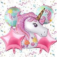 بالون 5 في 1 لحفلات اعياد الميلاد بنمط وحيد القرن، بالون مستدير مقاس 18 انش بالوان قوس قزح لتزيين الحفلات