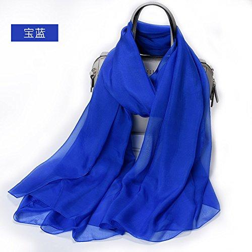 YRXDD Silk Schal Dame 100% Seide Mode Schal Dual-Use reinen Farbe Strand Handtuch Sonnencreme Schal (105 * 175cm), Saphir blau