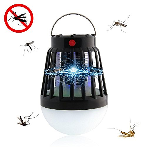 Kobwa pawaca elettronico antizanzare con lampada led, 2018nuovo portatile impermeabile multifunzionale campeggio lampada, lampada insetticida elettrico ricaricabile, con pannello solare ricarica
