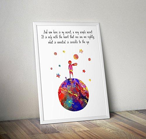 Der kleine Prinz inspiriert Aquarell Poster - Zitat - Alternative TV / Movie Prints in verschiedenen Größen (Rahmen nicht im Lieferumfang enthalten)