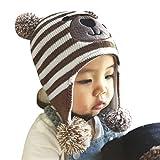 Winter Babymütze Kindermütze Warm Strickmütze Earflap Hut Kappe Cap Cartoon Bommelmütze Beanie Mütze Schlupfmütze für 2-5 Jahre Kinder(52-54CM)