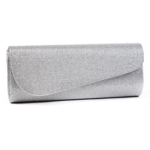 Damara Schräg Abdeckung Shimmert Damen Clutch Abendtasche,Silber