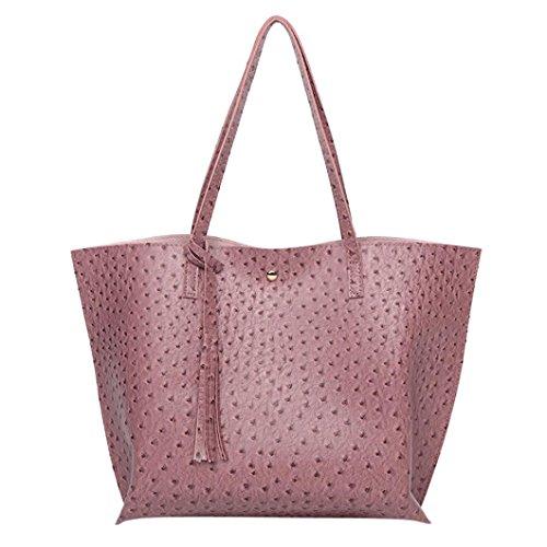Henkeltaschen damen Kolylong® Vintage Quasten Handtasche für Frauen Shopper Tasche Groß Elegant PU-Leder Schultertasche Mädchen Ledertasche Umhängetasche Hand Bag (Lila)