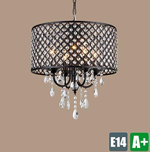 ● Retro Kreative Schmiedeeisen Pendelleuchte Schirm mit Vintage Einzigartige Deckenpendelleuchte Kronleuchter Beleuchtung Kristall Dekoration Rustikale Wohnzimmer Licht Schlafzimmer Lampe 4 * E14 ● -