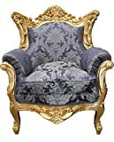 Casa Padrino Barock Wohnzimmer Set Royal Blau Muster/ Gold – 3er Sofa+2er Sofa + 1 Sessel - 2