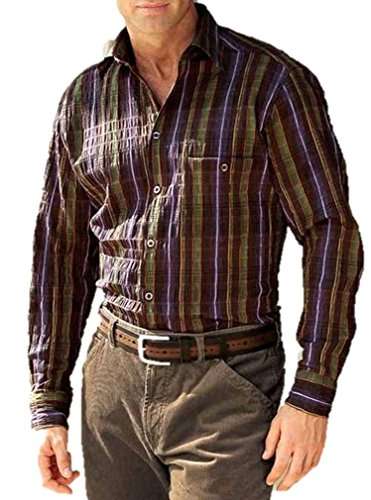 Alba Moda -  Camicia Casual  - Uomo Marrone-Púrpura 40