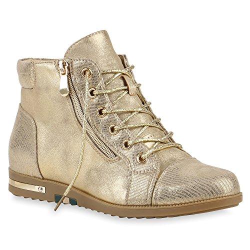 Gefütterte Damen Sneaker-Wedges Zipper Glitzer Turnschuhe Gold
