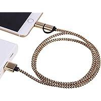 Forepin® 2 in 1 USB Cavo Nylon Intrecciato Trasmissione Dati Carica per Apple iPhone 7,7Plus,SE, 6, 6Plus, 6S, 6S plus, 5, 5S, 5C, iPad Air, Mini, Mini 2, iPad 4, iPod 5 e iPod 7 - 1m (Oro)