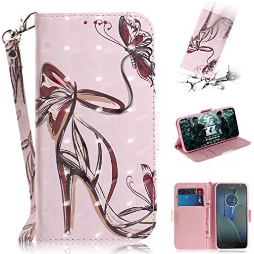 SZHTSWU Hülle für Motorola Moto G5s Plus (5,5 Zoll), Magnetverschluss 3D Gemalt Kunstleder PU Leder Tasche Schutzhülle mit Kartenfächern, Schmetterlings High Heels