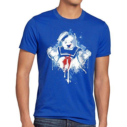 style3 Stay Puft Marshmallow Mann T-Shirt Herren geisterjäger schaumzucker, Größe:XXXL, Farbe:Blau