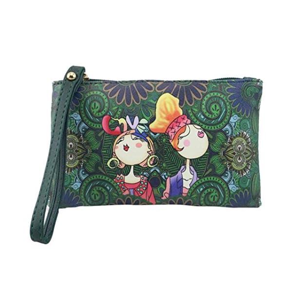 51jlcXGJlLL. SS600  - SMARTLADY Bolsos de mano de PU Cuero Moda retro Dibujos Animados Carteras Monederos (Verde)