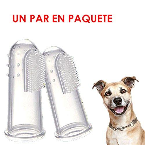 BESTIM INCUK(TM)- 2 Pcs Animales de la dedos cepillo de dientes suave látex perro dientes limpieza limpieza Cuidado Dental de los dientes de