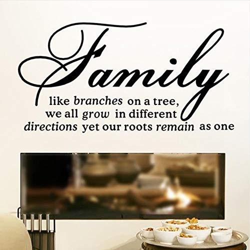 Familie wie Zweige auf einem Baum Zitate Wandaufkleber Wohnzimmer Vinyl Kunst Wand Text Aufkleber Home Decor 44x22 cm