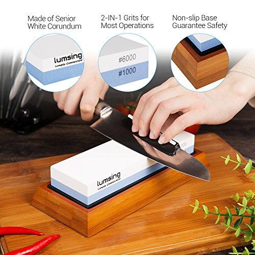 Wetzstein - Lumsing Abziehstein 1000/6000 2-IN-1 Doppelseitiges Schleifstein für Messer, schärfen Stein in blau und weiß (Bewegen Sie Ihn Entlang)