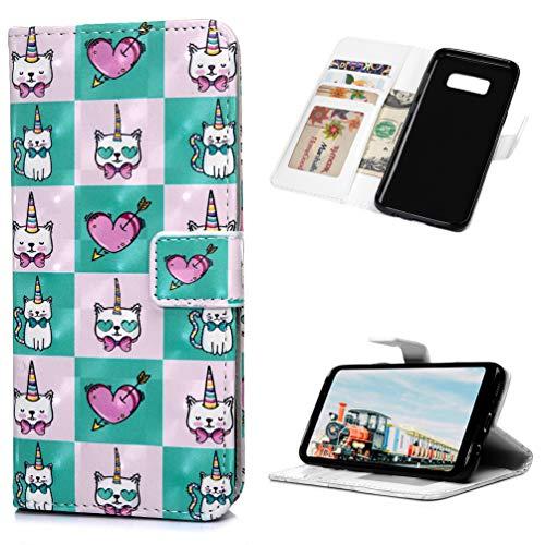 Mlorras Hülle für Samsung Galaxy S8, 3D Gemalt Klapphülle Handytasche PU Leder mit TPU innerer Handyhülle Halterung Brieftasche Schutzhülle mit Karteneinschub Handy Hüllen,Mini-Einhornkatze