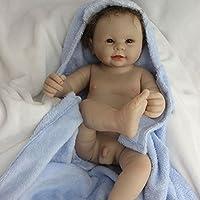 Yesteria Realista Reborn Bebé Muñeco Silicona Vinilo Entero Chico Desnudo con Manta Azul 50 cm