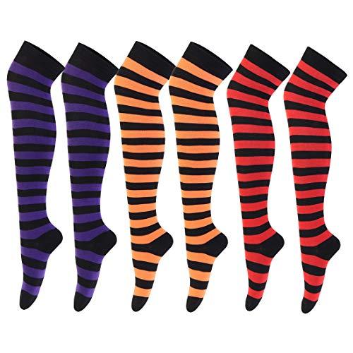 are über kniestrümpfe gestreifte oberschenkel strümpfe für halloween cosplay lange beinwärmer One Size 3 Pairs(orange+purple+Rot) ()