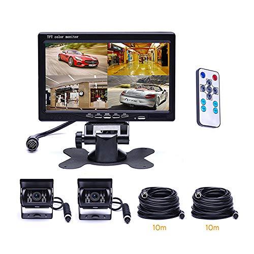 SSCJ 7-Zoll-4-Wege-Bildschirmanzeige-LKW, der Bild-HD-Überwachungsbildschirm mit 18LEDs IR-Nachtsicht - Front- und Rückkamera - Drahtloser Fahrzeug-HD-Bildschirm rückgängig Macht