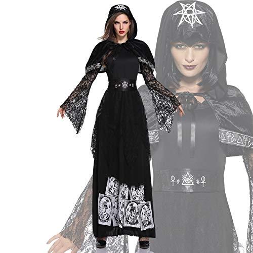 YRE Masquerade Weibliche Vampir-Kostüm, Ostern Dark Ghost Bride, Halloween Erwachsene Hexe Prinzessin Maxi Kleid,M