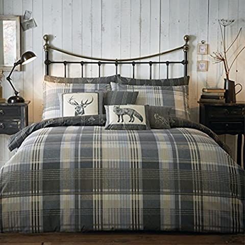 100% Brushed Cotton 'Connolly Check' Double Duvet Cover Set in Charcoal, Includes: 1x Double Duvet Cover and 2x